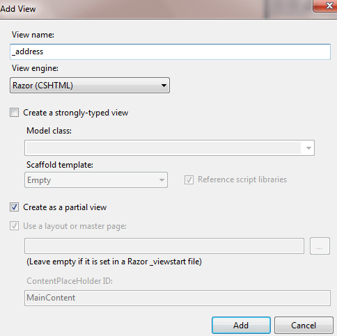 Add Partial View in ASP.NET MVC application
