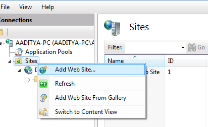 Add new web site to IIS