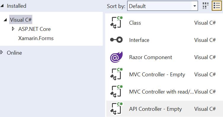 Add new ASP.NET Core Web API Controller to MVC application