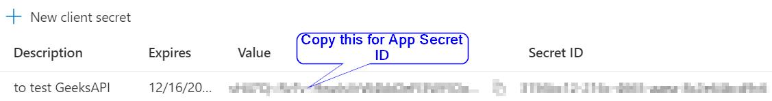 Get Azure AD App secret id