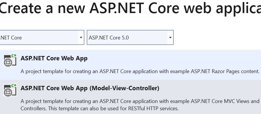 Create new ASP.NET Core Web application using .NET5