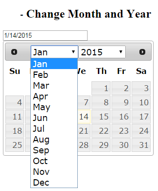 jQuery UI DatePicker Change month and year example
