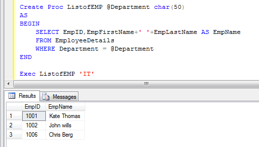 SQL server create and execute stored procedure