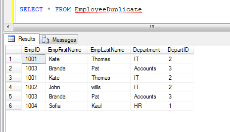 SQL dulicate rows