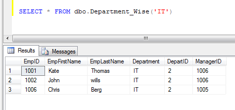 sql execute table valued function