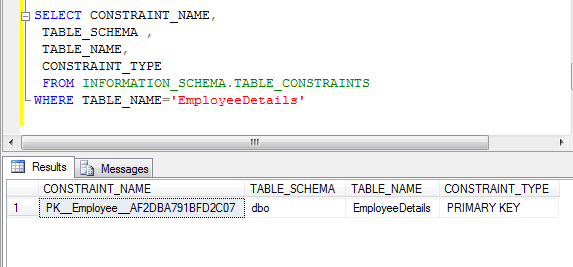 sql primary key constraint