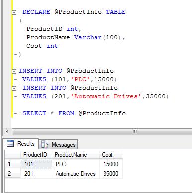 sql server table variable