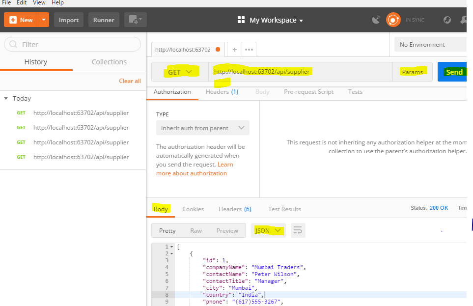 Test Web API Get method using Postman tool